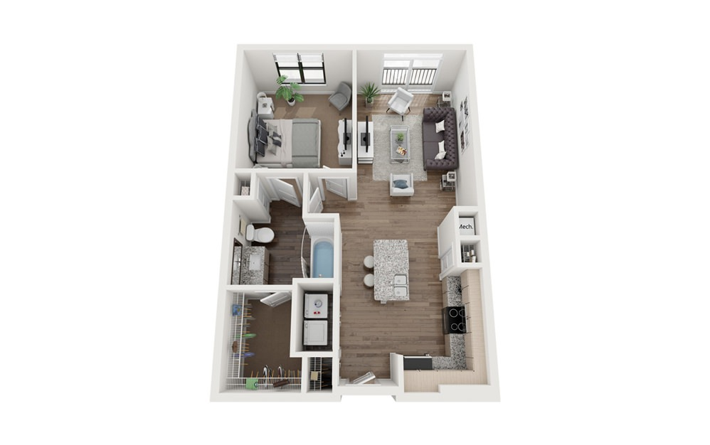 Atwater 1 Bedroom 1 Bath Floorplan