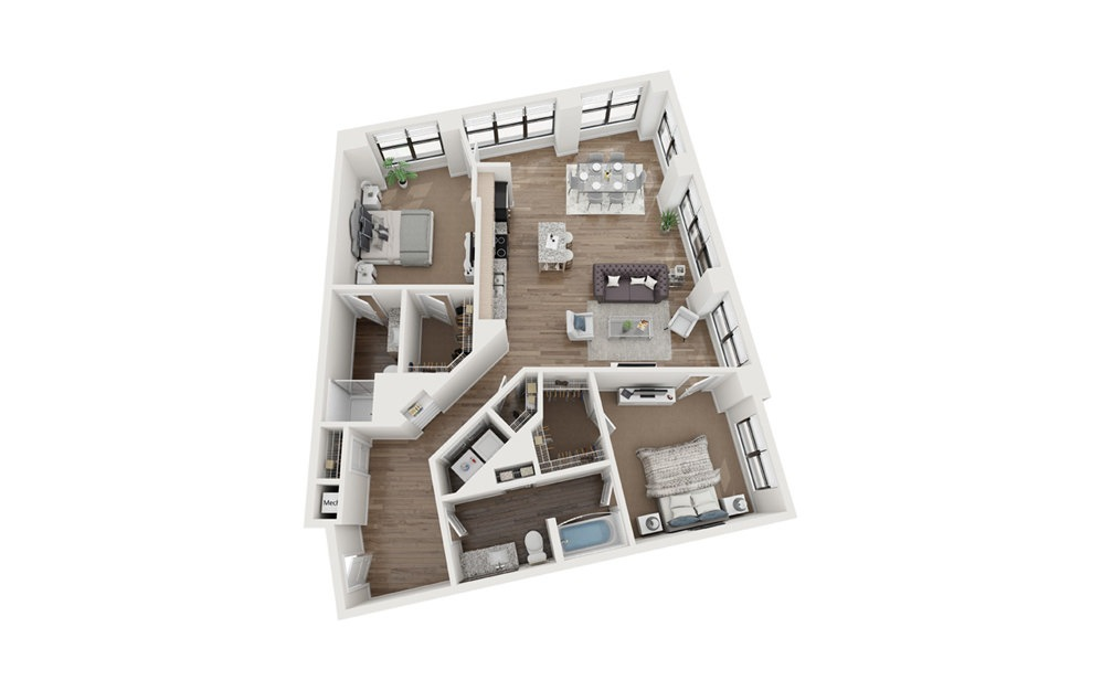 Whitman 3 Bedroom 2 Bath Floorplan