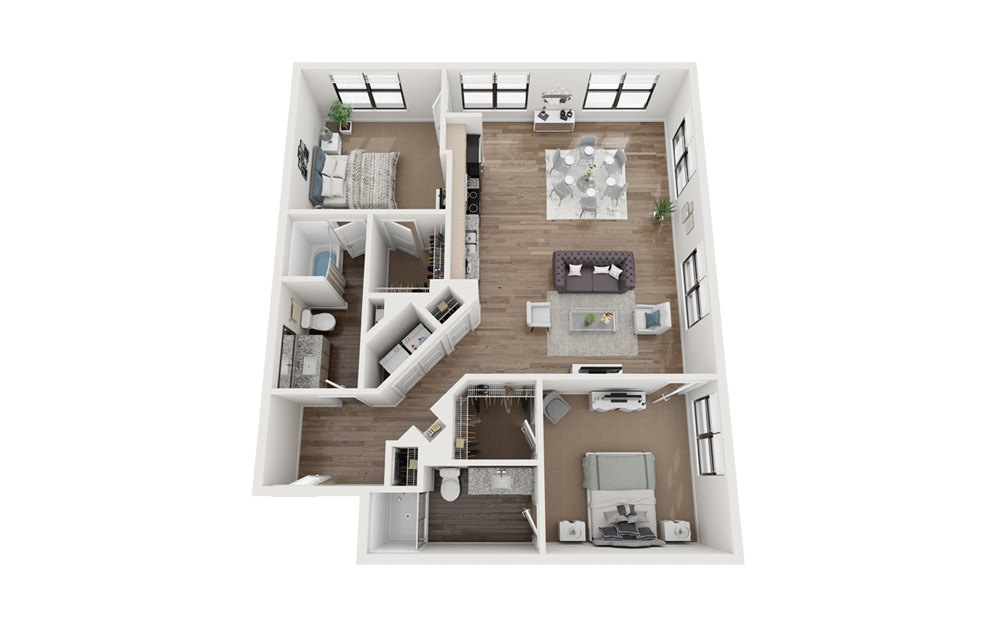 Brandywine 2 Bedroom 2 Bath Floorplan
