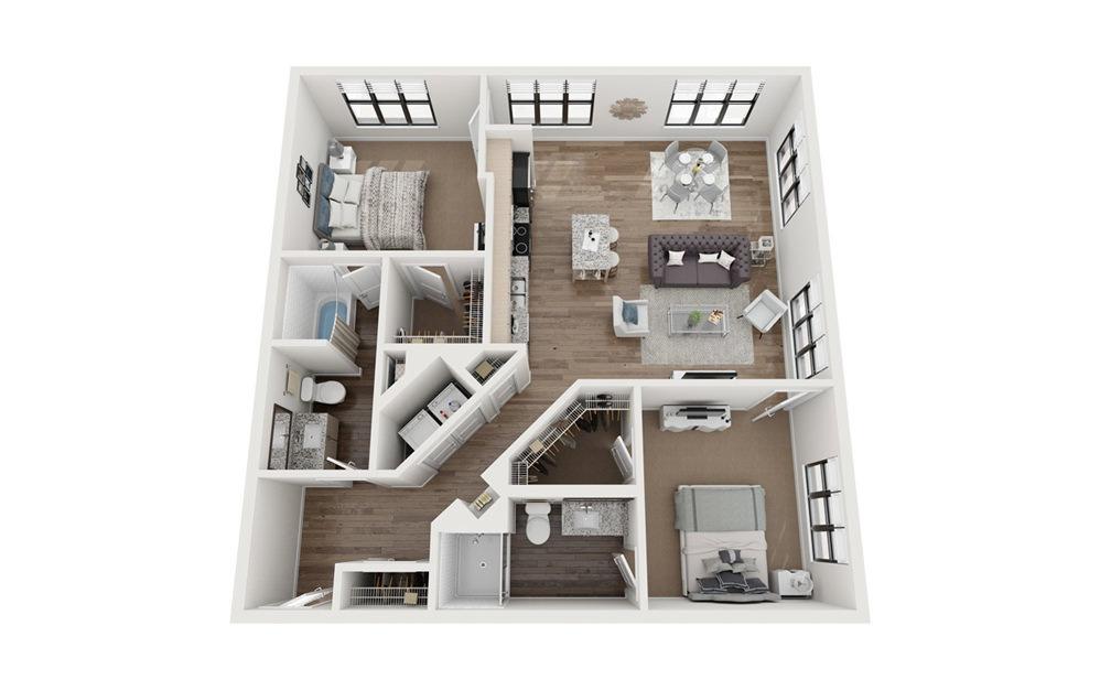 Brookline 2 Bedroom 2 Bath Floorplan