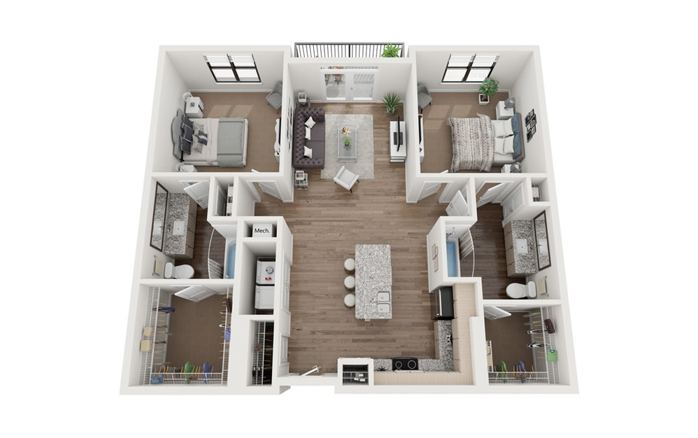 The Fred 2 Bedroom 2 Bath Floorplan