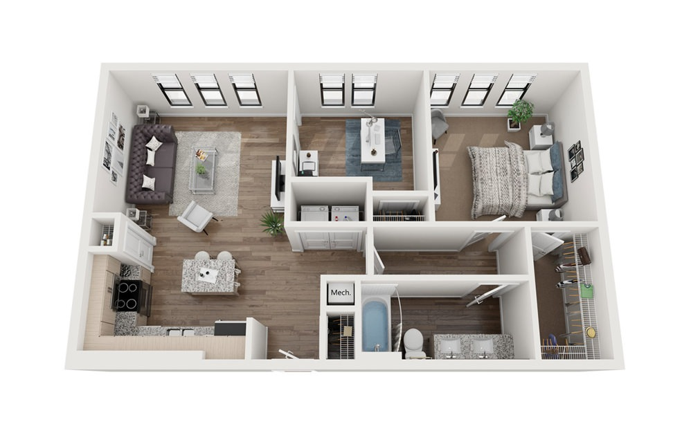 Denison 1 Bedroom 1 Bath Floorplan