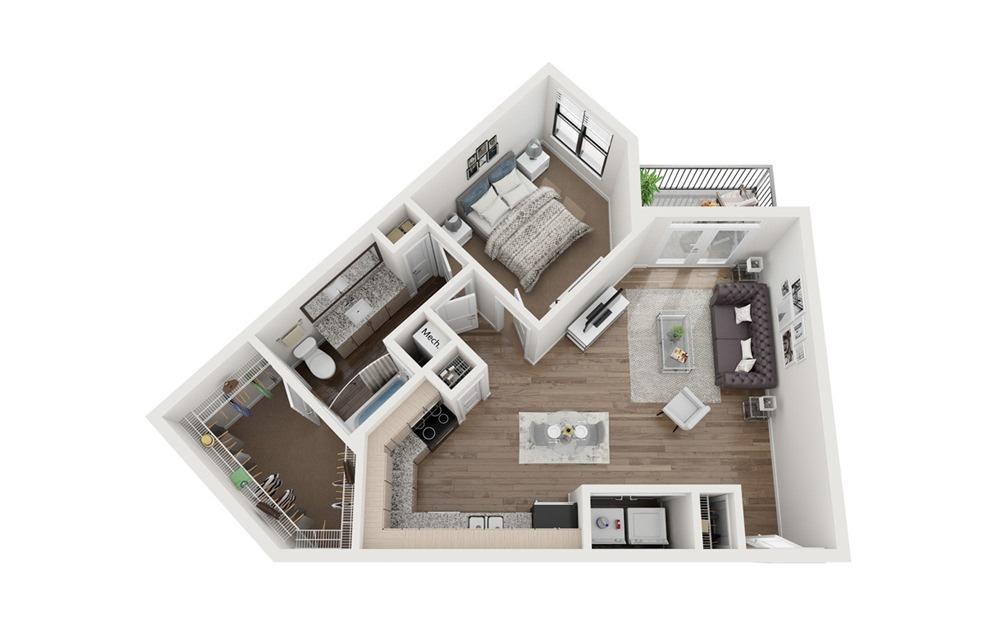Downing 1 Bedroom 1 Bath Floorplan