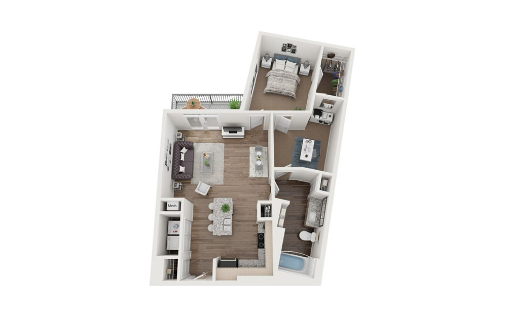 Edgewood 1 Bedroom 1 Bath Floorplan