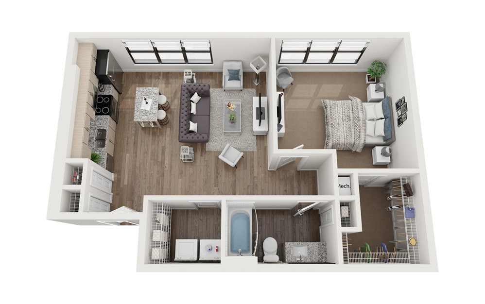 Filmore 1 Bedroom 1 Bath Floorplan