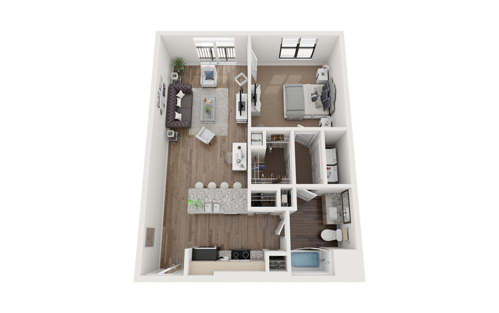 Goodloe 1 Bedroom 1 Bath Floorplan