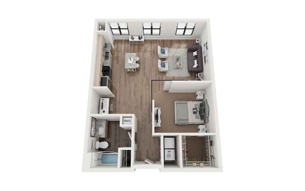 Greensward 1 Bedroom 1 Bath Floorplan