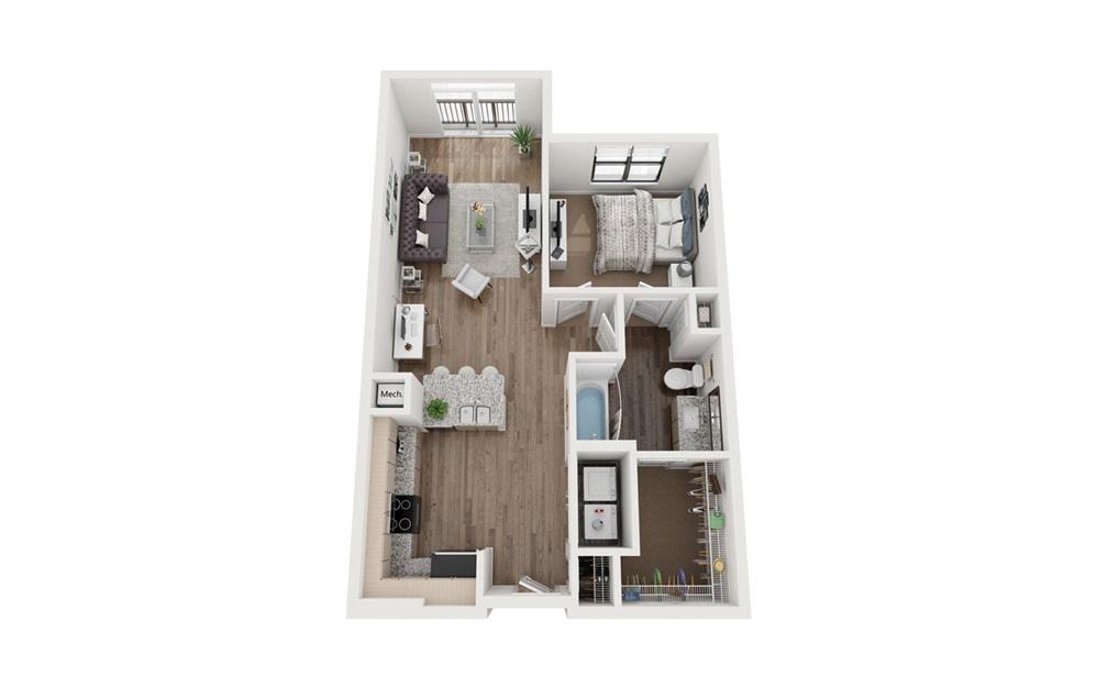 Jackson 1 Bedroom 1 Bath Floorplan