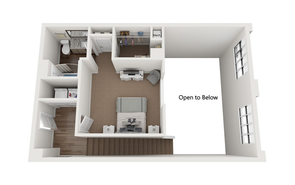 The Fred 2 Bedroom 2 Bath Floorplan